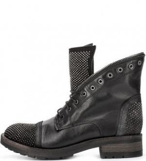 Кожаные ботинки с металлическим декором Felmini. Цвет: черный