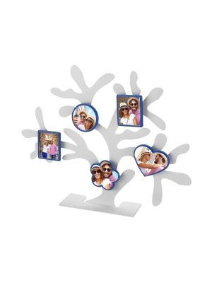 Набор магнитных фоторамок Дерево счастья. Цвет: синий
