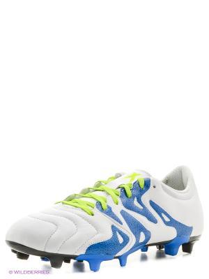 Бутсы X 15.3 FG/AG Lea Adidas. Цвет: белый