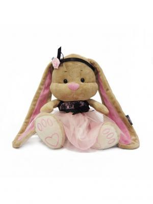 Мягкая Игрушка Зайка Лин в Розово-Черном Платьице, 25 см, Коробке MAXITOYS. Цвет: темно-бежевый, бледно-розовый