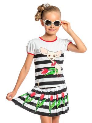 Пляжный комплект для девочек (юбка+футболка) Arina Festivita. Цвет: черный, белый, красный