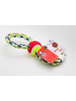 Игрушка канатная восьмерка с мячом, 25 см Doggy Style. Цвет: красный