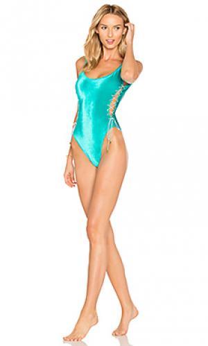 Сплошной купальник со шнуровкой по бокам Sauvage. Цвет: сине-зеленый