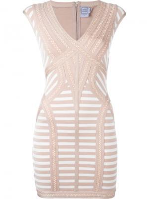 Полосатое приталенное мини-платье Hervé Léger. Цвет: розовый и фиолетовый