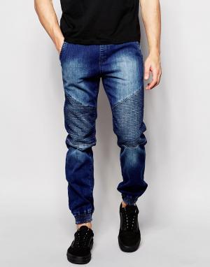 Loyalty & Faith Умеренно выбеленные байкерские джинсы. Цвет: синий