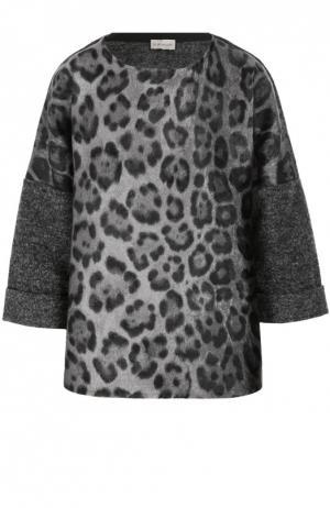 Шерстяной пуловер с укороченным рукавом и леопардовым принтом Moncler. Цвет: серый