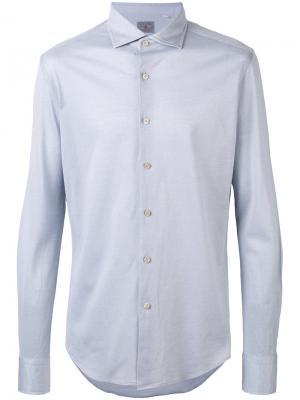 Рубашка узкого кроя Xacus. Цвет: синий