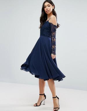 ASOS Кружевное платье миди с длинными рукавами Kate. Цвет: темно-синий