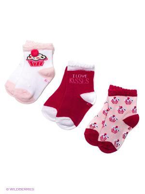 Носки PERA MAYA. Цвет: малиновый, бледно-розовый, белый