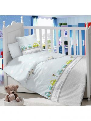 Комплект постельного белья в детскую кроватку из сатина (простыня на резинке) Ивбэби. Цвет: светло-голубой, молочный, светло-серый