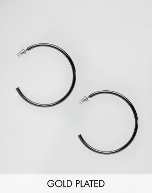 Pilgrim Гематитовые серьги‑кольца. Цвет: серый