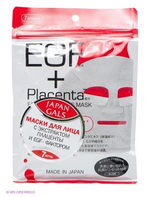 Маска с плацентой и EGF фактором Facial Essence Mask 7 шт Japan Gals. Цвет: белый, красный