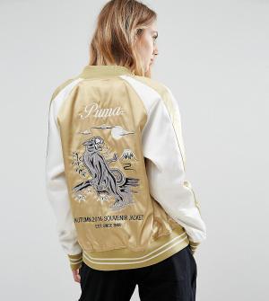 Puma Атласная сувенирная куртка цвета хаки. Цвет: зеленый