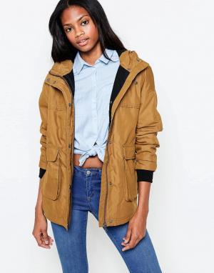 Parka London Куртка-дождевик горчичного цвета с воротником‑труба Petra. Цвет: желтый