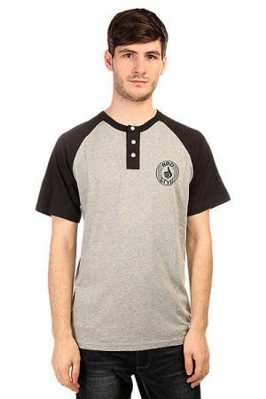 Футболка  Henley Raglan Black Bro Style. Цвет: серый,черный