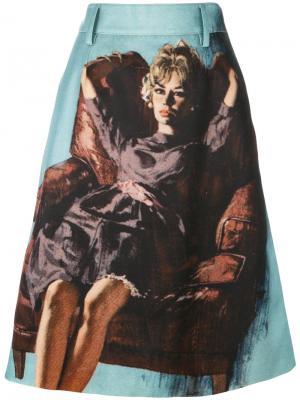 Юбка миди с вышивкой Prada. Цвет: многоцветный