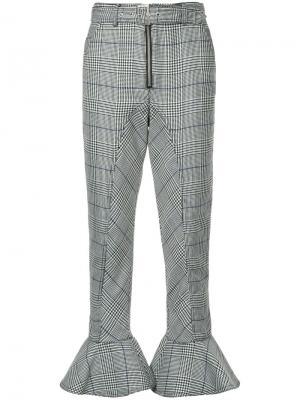 Клетчатые брюки с расклешенными манжетами Self-Portrait. Цвет: чёрный