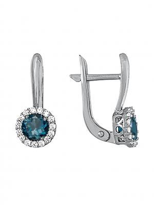 Серебряные серьги KRASNOE. Цвет: серебристый, серо-голубой