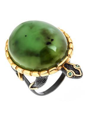 Кольцо Балтийское золото. Цвет: зеленый