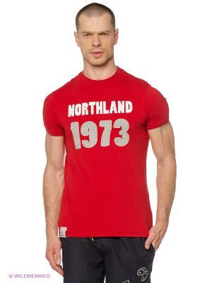 Футболка Northland Professional. Цвет: красный, серый меланж