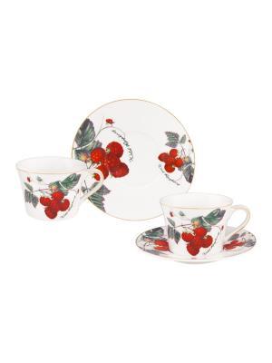 Чайная пара Ягода - малина Elan Gallery. Цвет: белый,зеленый,красный