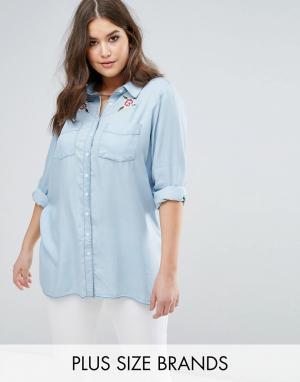 Koko Рубашка с цветочной вышивкой. Цвет: синий