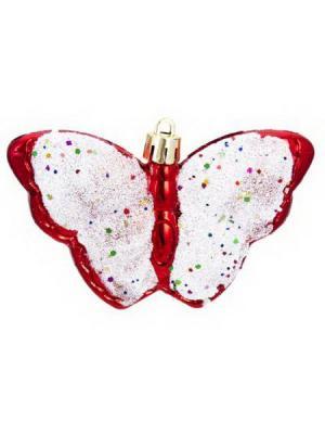 Набор украшений 4, 10см, пластик, Бабочки СНОУБУМ. Цвет: красный