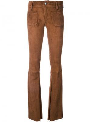 Замшевые расклешенные брюки The Seafarer. Цвет: коричневый