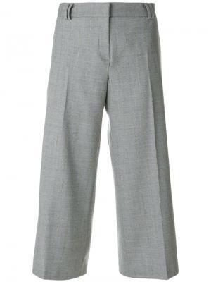 Укороченные строгие брюки Barba. Цвет: серый