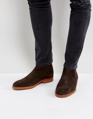 Hudson London Коричневые замшевые ботинки челси H Tonti. Цвет: коричневый