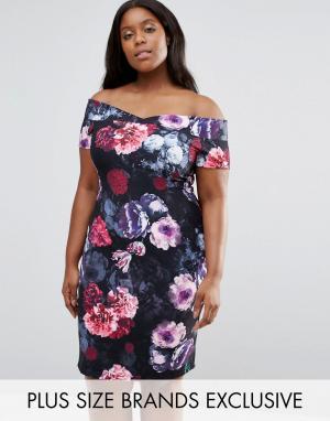 Paper Dolls Plus Платье с цветами и открытыми плечами. Цвет: мульти