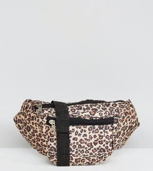 Reclaimed Vintage Сумка-кошелек на пояс с леопардовым принтом Inspired. Цвет: светло-бежевый