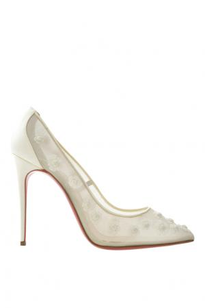 Шелковые туфли Marguerite 100 Christian Louboutin. Цвет: белый