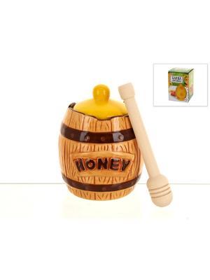 Банка для меда с ложкой Honey, ENS GROUP. Цвет: светло-желтый