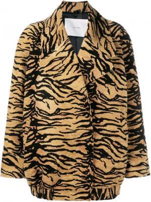 Куртка с тигровым принтом Adam Lippes. Цвет: коричневый