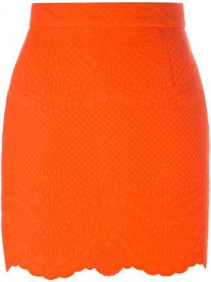 Фактурная мини-юбка Antonio Berardi. Цвет: жёлтый и оранжевый