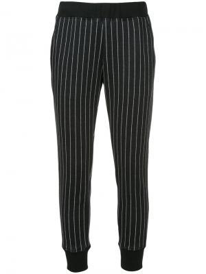 Укороченные брюки в полоску Loveless. Цвет: чёрный
