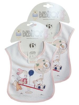 Набор слюнявчинов 2 шт Bebitof Baby. Цвет: розовый