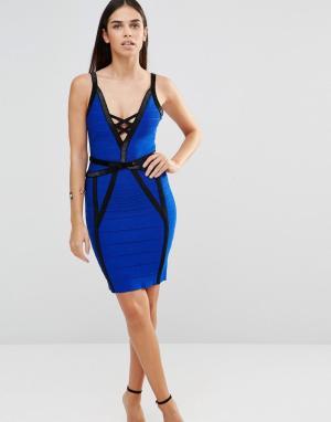 Forever Unique Бандажное платье с черной отделкой Muse. Цвет: синий