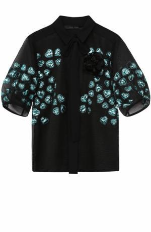 Шелковая блуза с вышивкой и бантом Elie Saab. Цвет: разноцветный