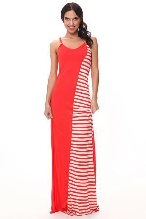 Трикотажное комбинированное платье в пол Piamente. Цвет: красный