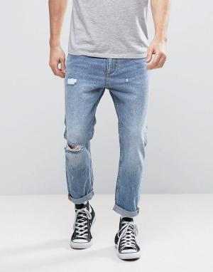 Rollas Укороченные джинсы с рваной отделкой Stubs. Цвет: синий