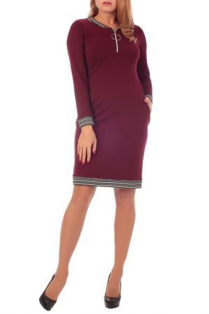 Спортивное платье с 2-мя фигурными карманами Lamiavita. Цвет: бордовый