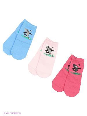 Носки - 3 пары Гамма. Цвет: голубой, малиновый, розовый