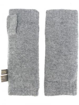 Перчатки-митенки с меховой отделкой N.Peal. Цвет: серый