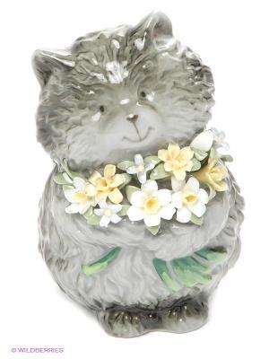 Фигурка Кот с букетом Pavone. Цвет: серый, желтый, зеленый