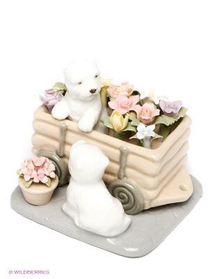 Фигурка Щенята Цветы для Хозяйки, 8см. Pavone. Цвет: бежевый, розовый, белый