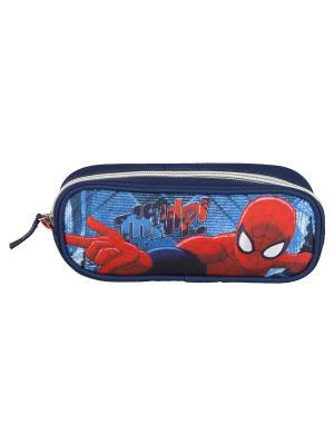 Пенал объемной формы, на молнии.Spider-man Classic Spider-man. Цвет: голубой, красный