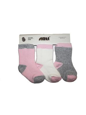 Носки махровые, 3 шт. ARTI. Цвет: серый меланж, розовый, белый