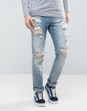 ASOS Выбеленные узкие эластичные джинсы в винтажном стиле с рваной отделкой. Цвет: синий